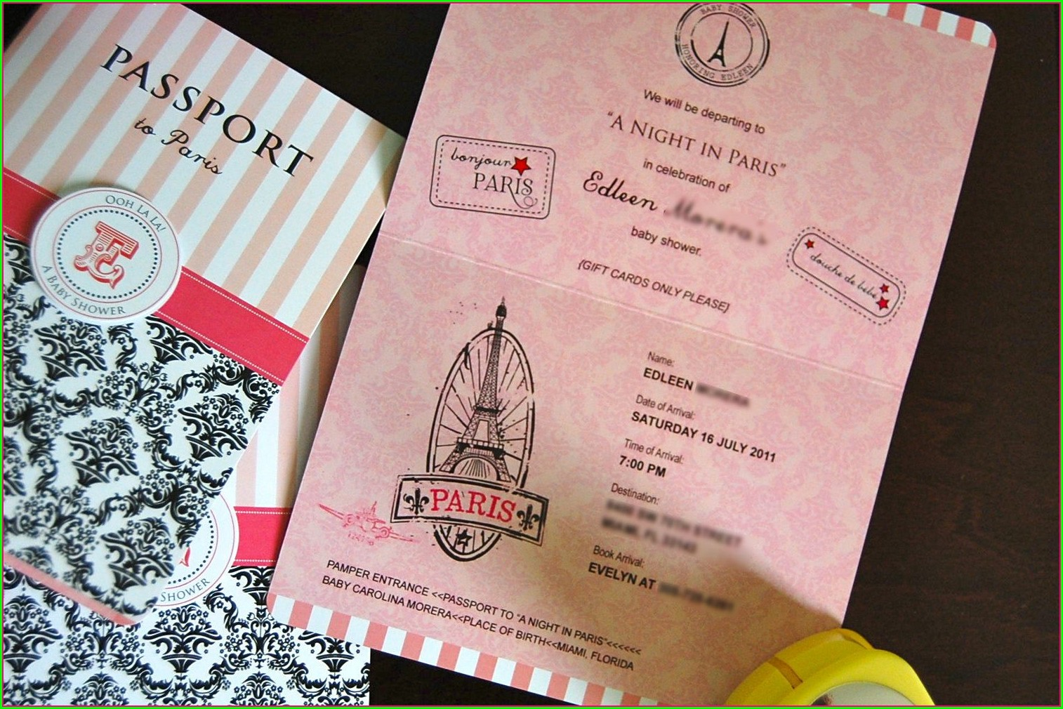 Paris Passport Invitation Template