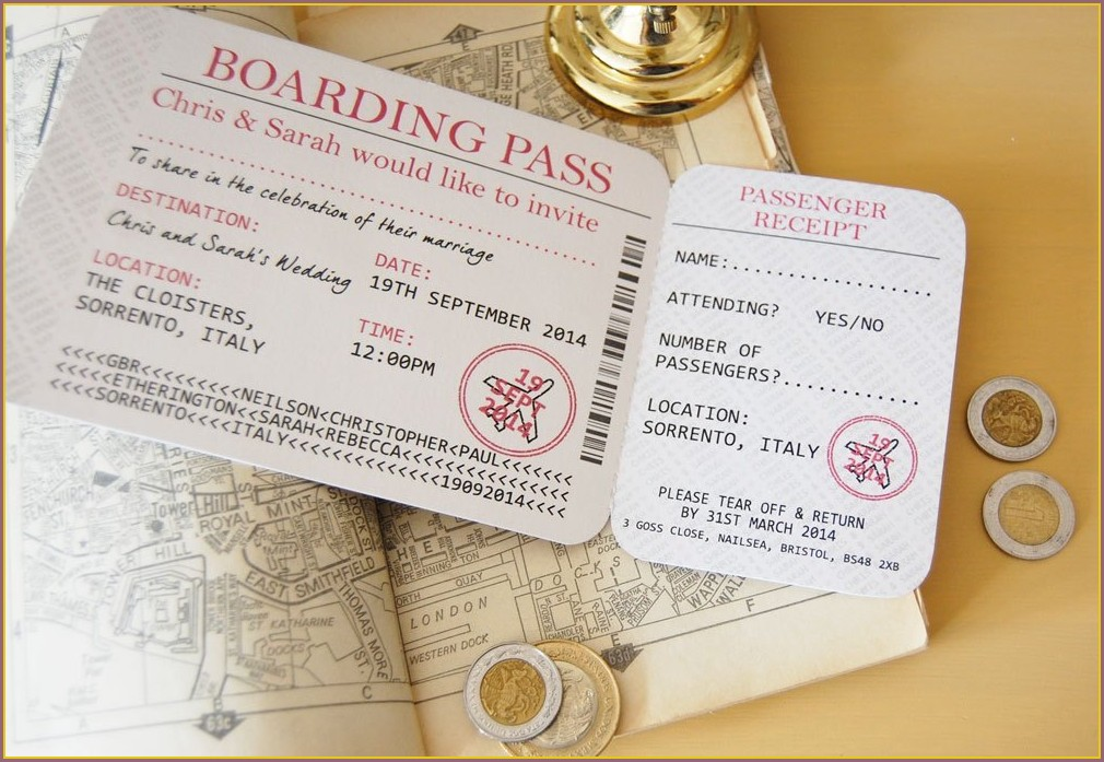 Passport And Boarding Pass Wedding Invitations Uk