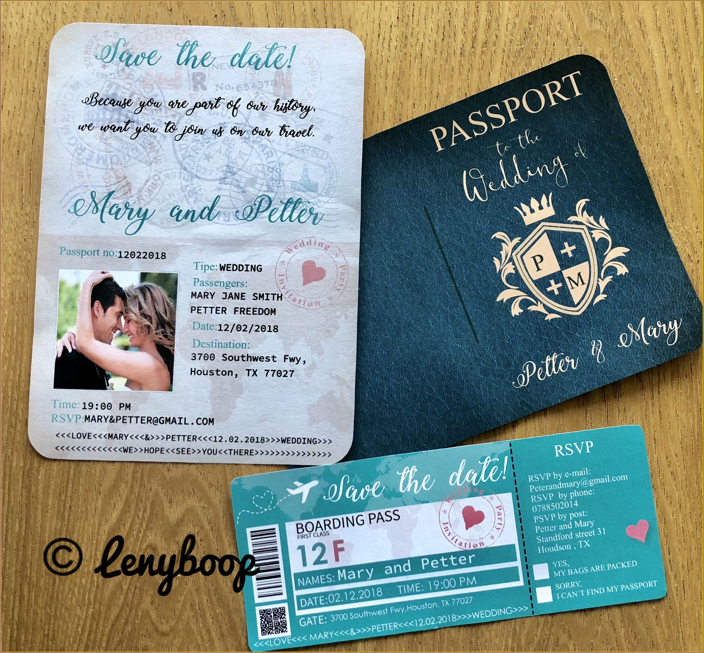 Passport And Boarding Pass Wedding Invitations