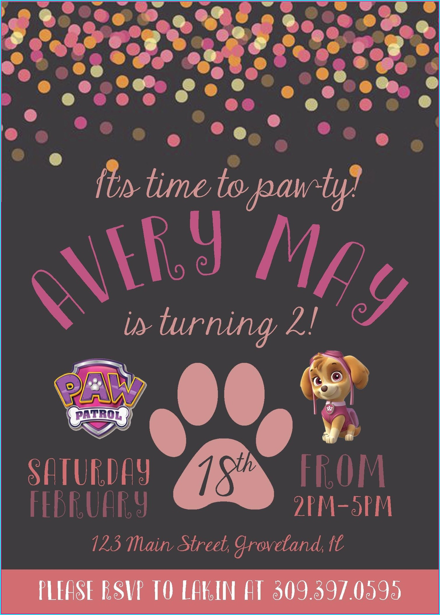 Paw Patrol 2nd Birthday Invitations