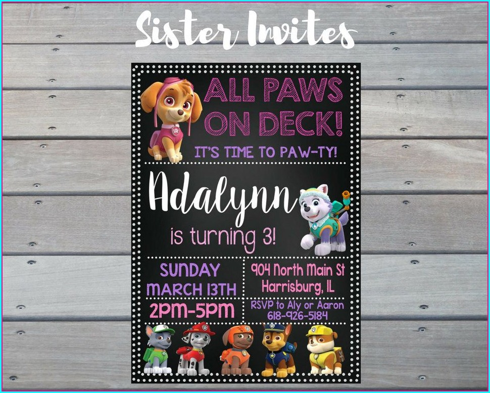 Paw Patrol 3rd Birthday Invitations