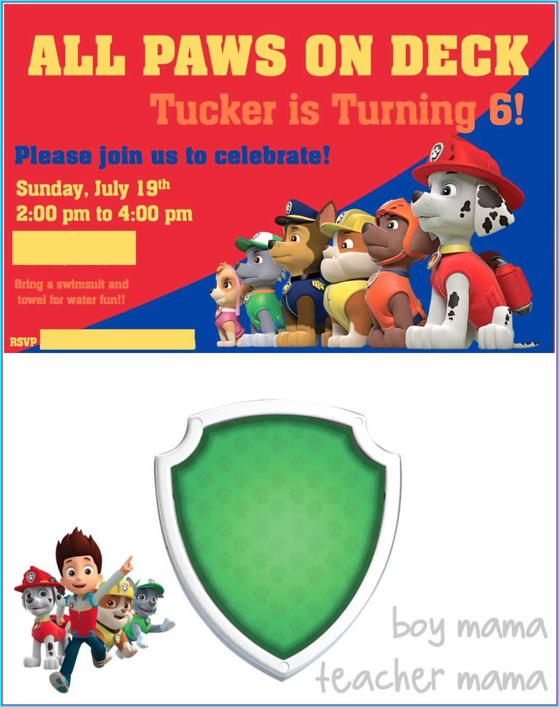 Paw Patrol Birthday Invitations Boy