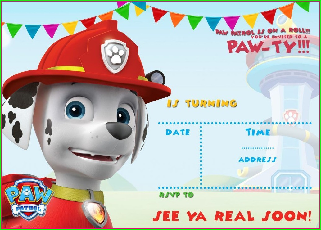Paw Patrol Birthday Invitations Free Template