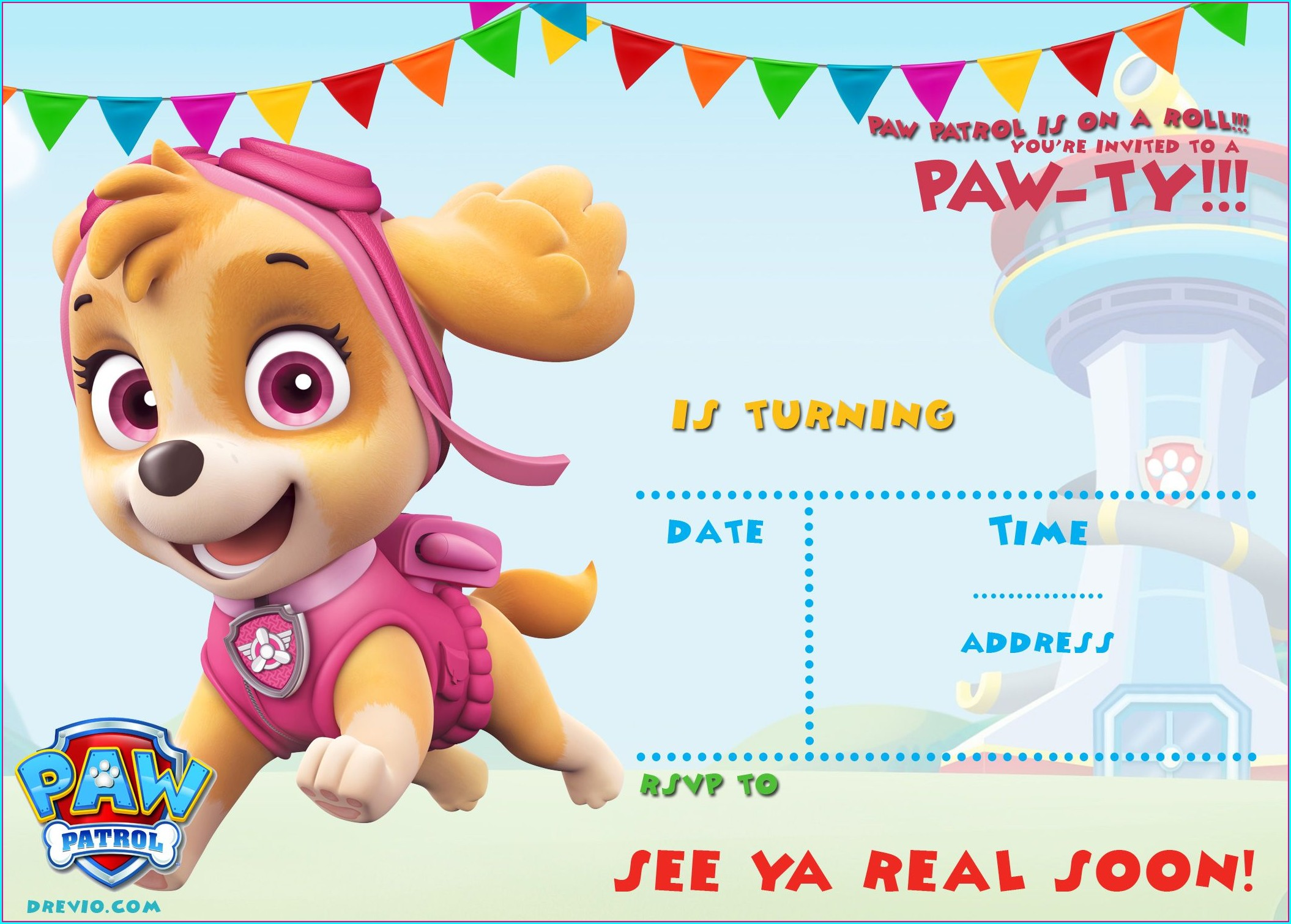 Paw Patrol Birthday Invitations Template Free