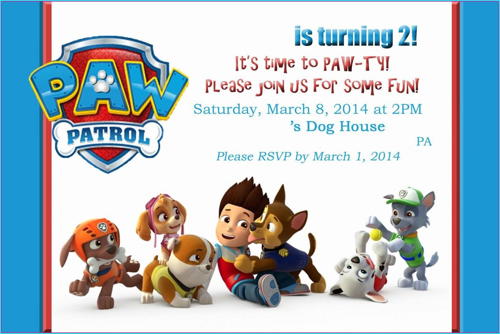 Paw Patrol Birthday Invitations Template
