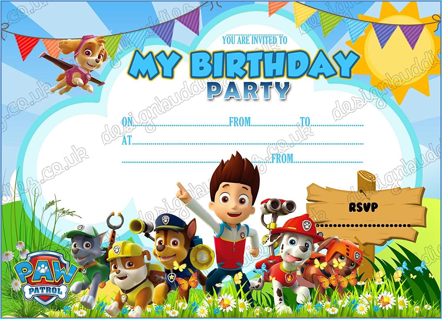 Paw Patrol Birthday Party Invitations