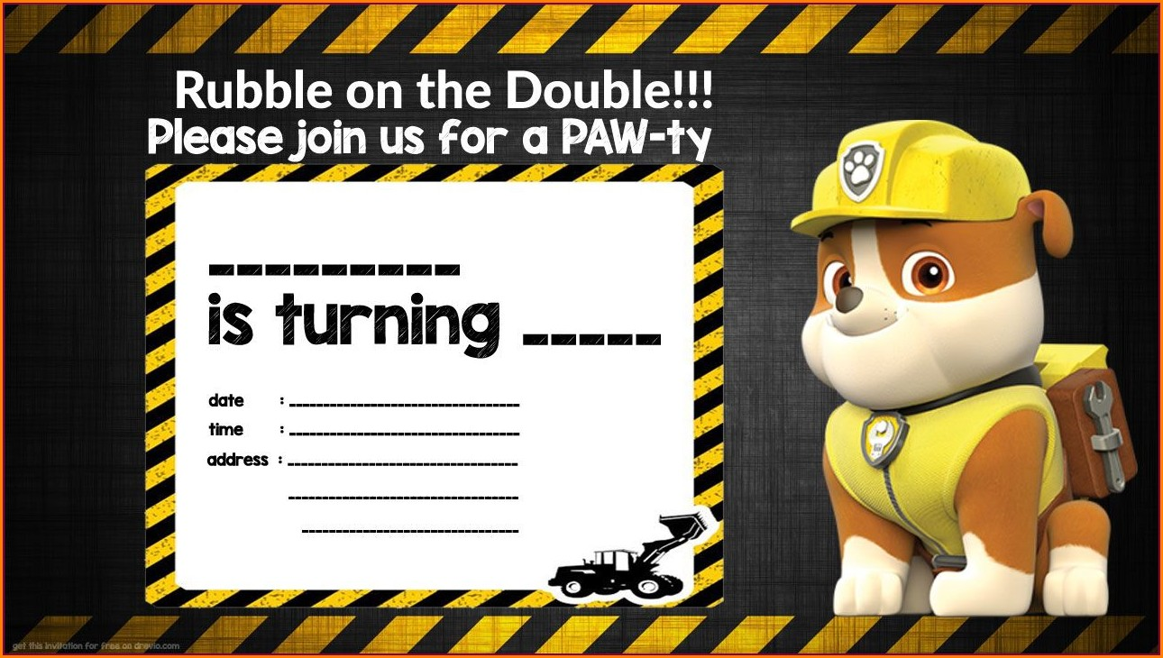 Paw Patrol Invitations Free Template