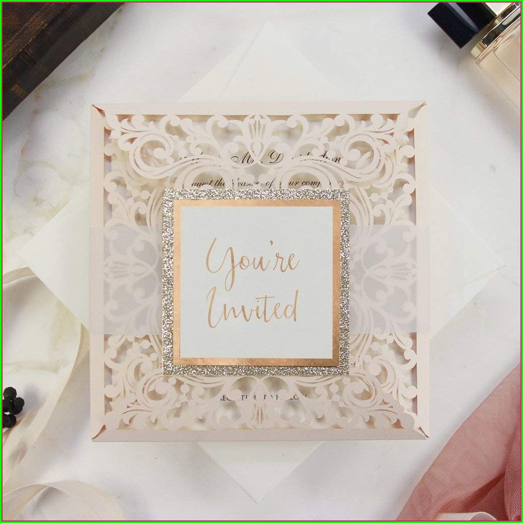 Peach Wedding Invitation Cards