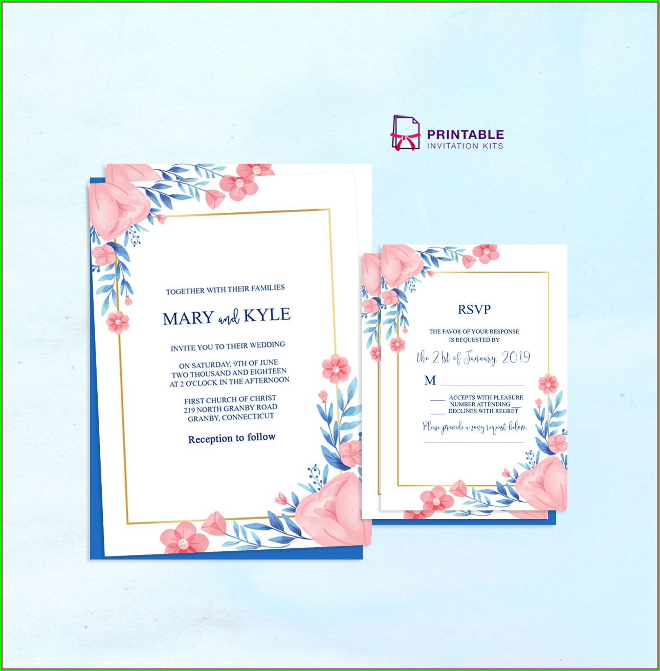 Peach Wedding Invitation Templates