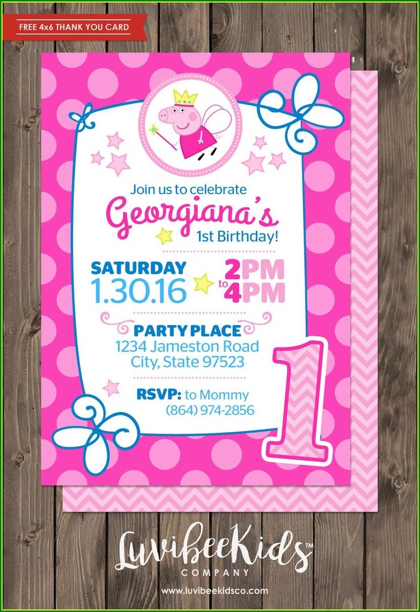 Peppa Pig Birthday Invitation Card