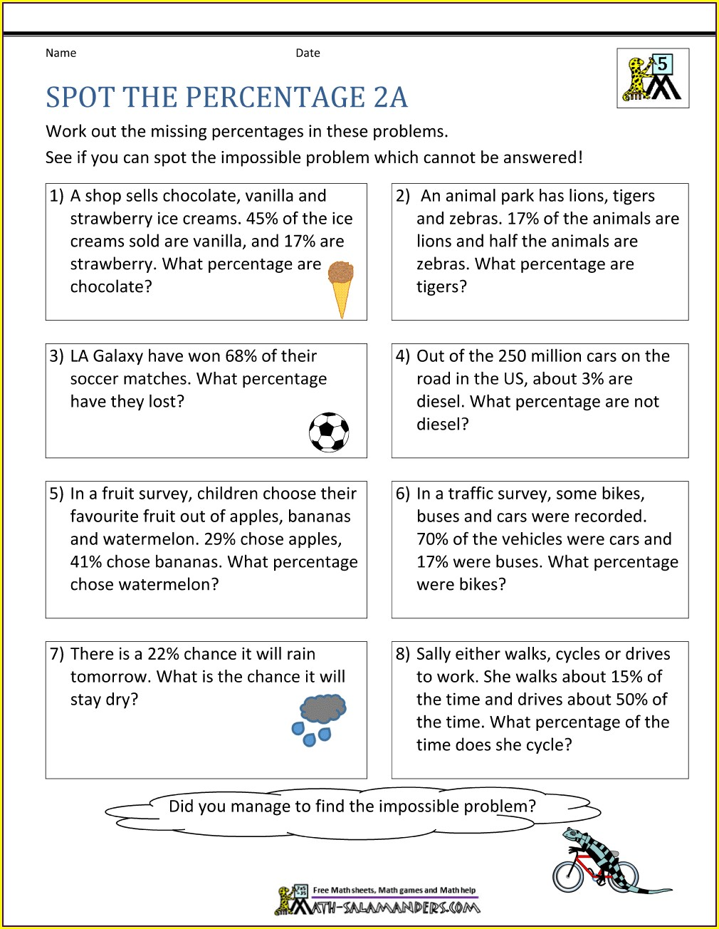 Percent Proportion Word Problems Worksheet 6th Grade