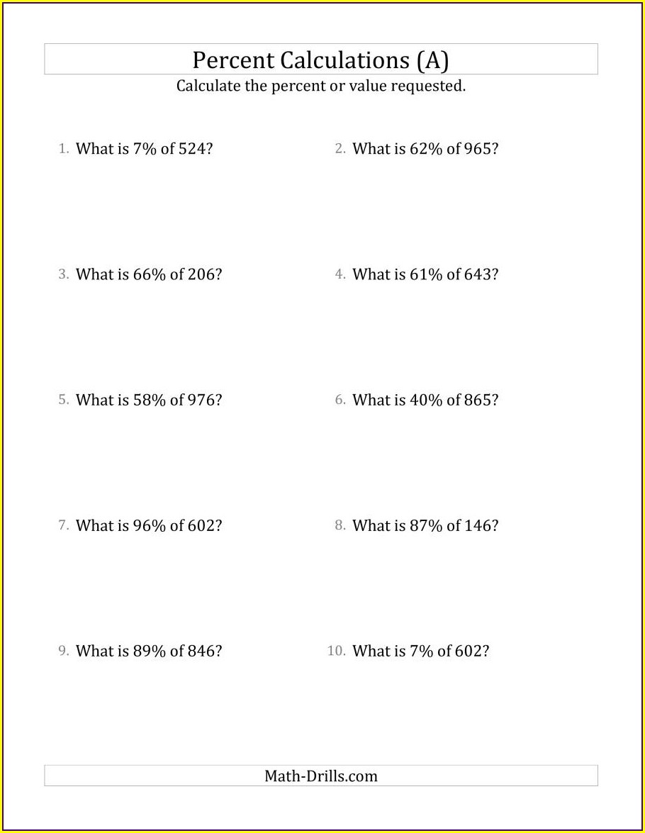 Percent Proportion Word Problems Worksheet Doc