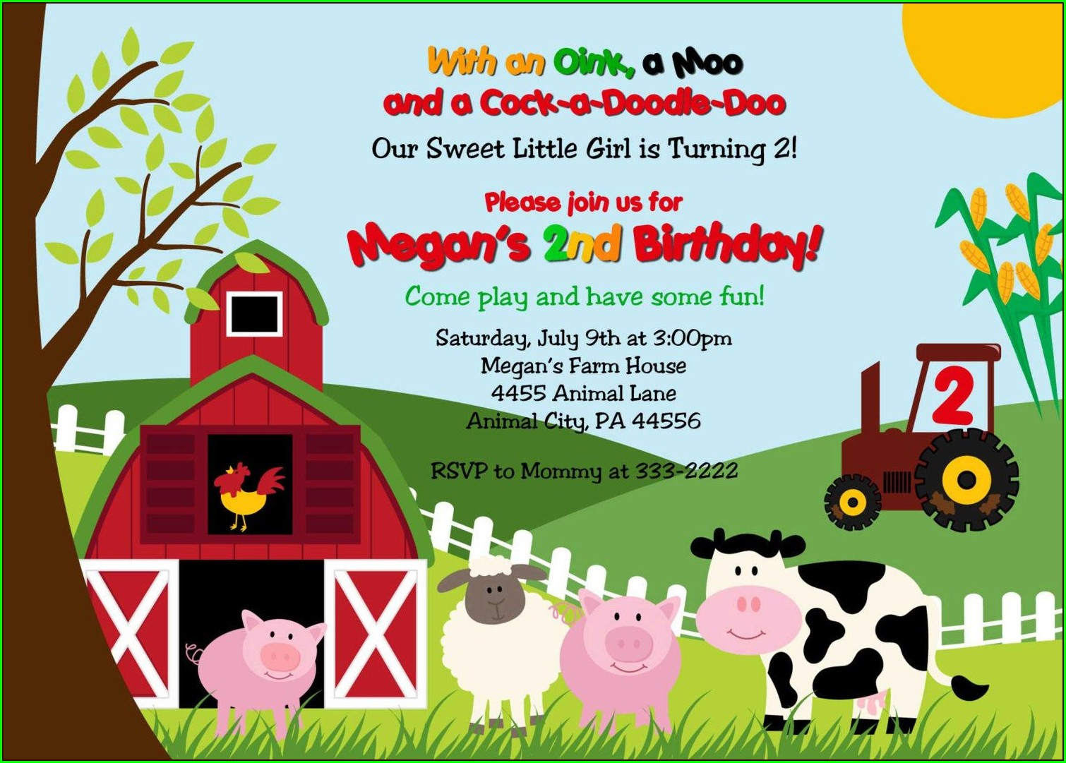 Personalized Barnyard Birthday Invitations
