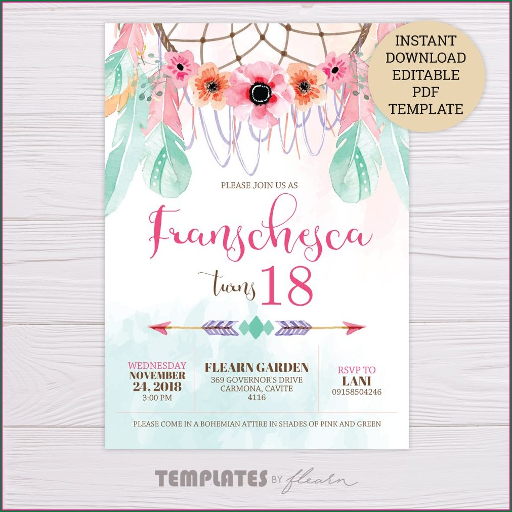 Personalized Editable 18th Birthday Invitation Template