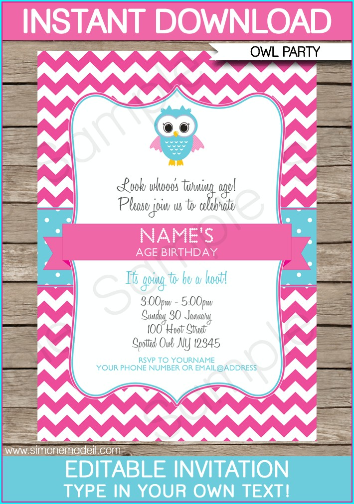 Personalized Editable Birthday Invitations Templates Free
