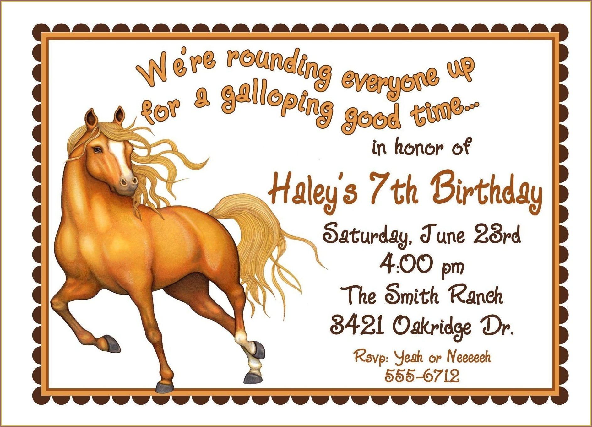 Personalized Horse Birthday Invitations