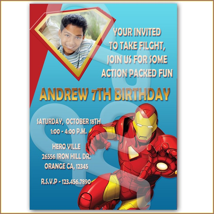 Personalized Iron Man Birthday Invitations