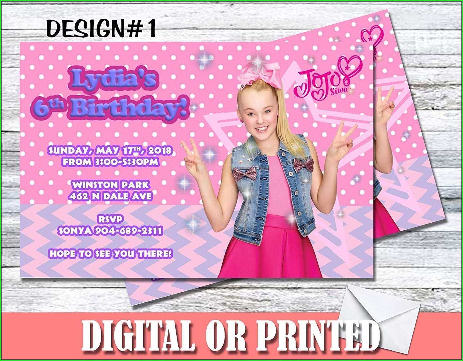 Personalized Jojo Siwa Birthday Invitations