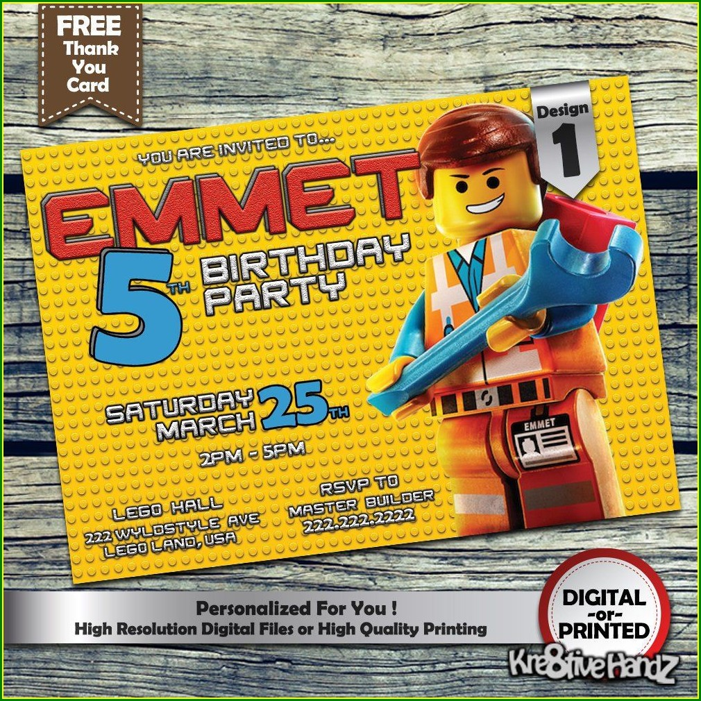 Personalized Lego Birthday Invitations