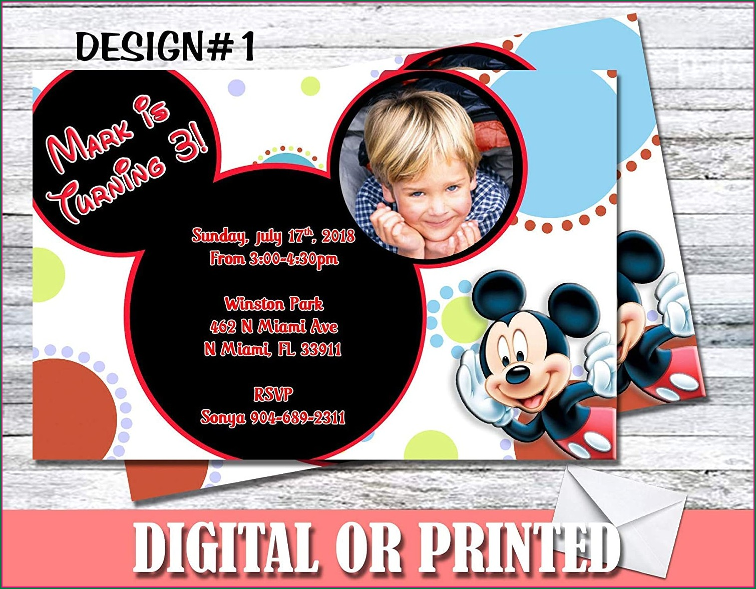 Personalized Mickey Mouse Invitations