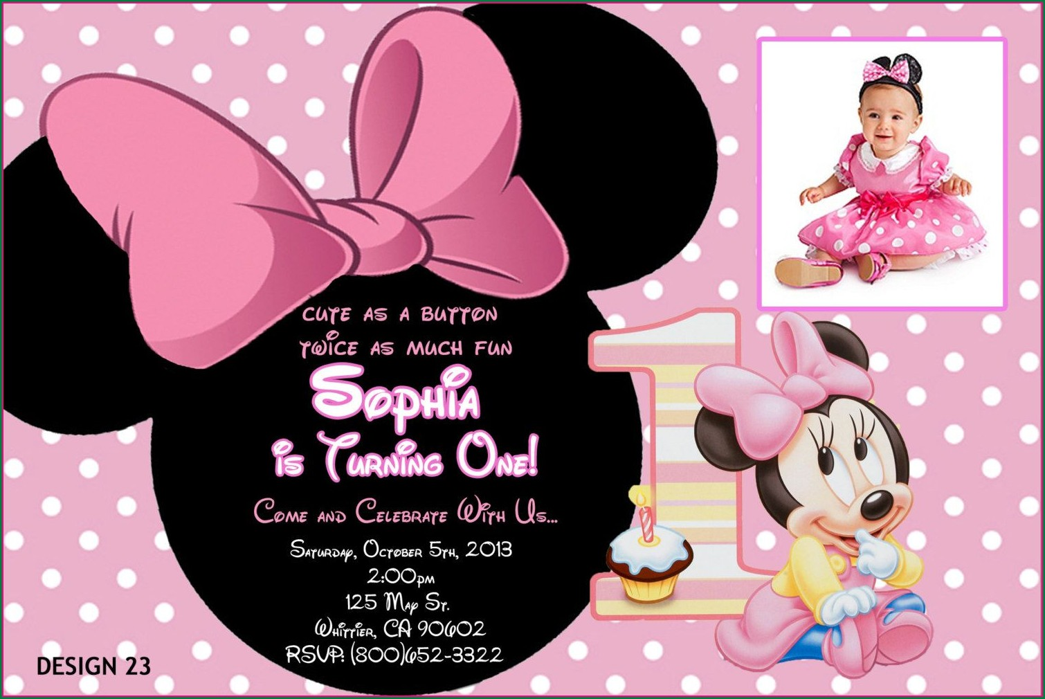 Personalized Minnie Mouse 1st Birthday Invitations