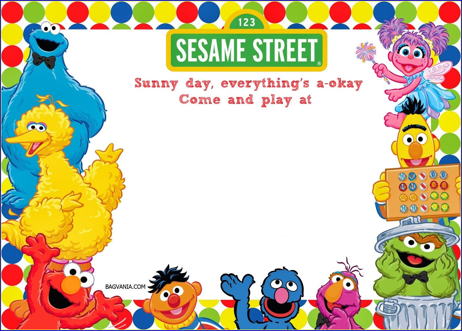 Personalized Sesame Street Invitation Template