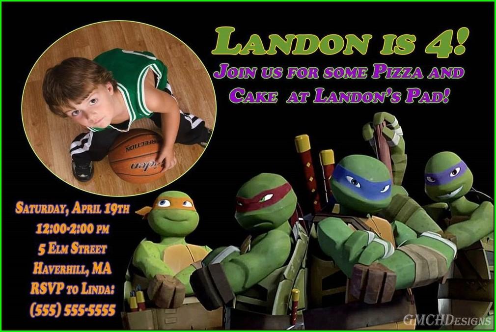 Personalized Teenage Mutant Ninja Turtles Birthday Invitations