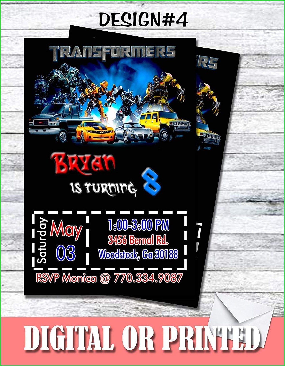 Personalized Transformers Birthday Invitations