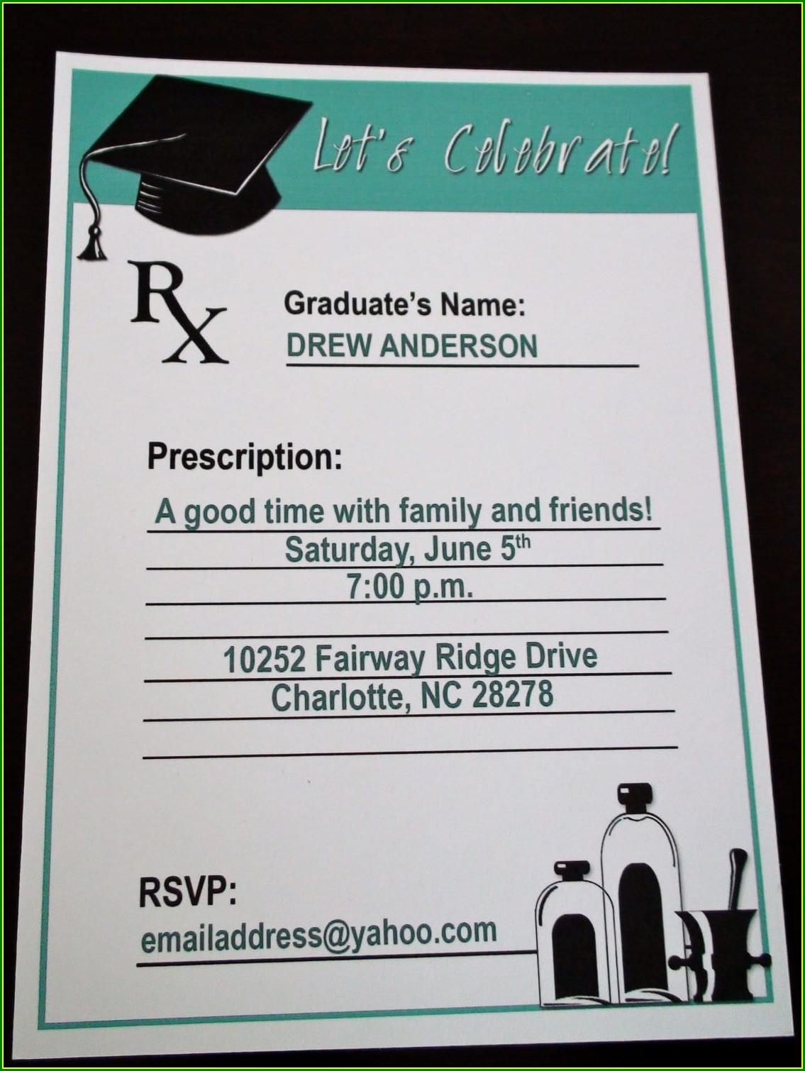 Pharmacy Graduation Invitation Template