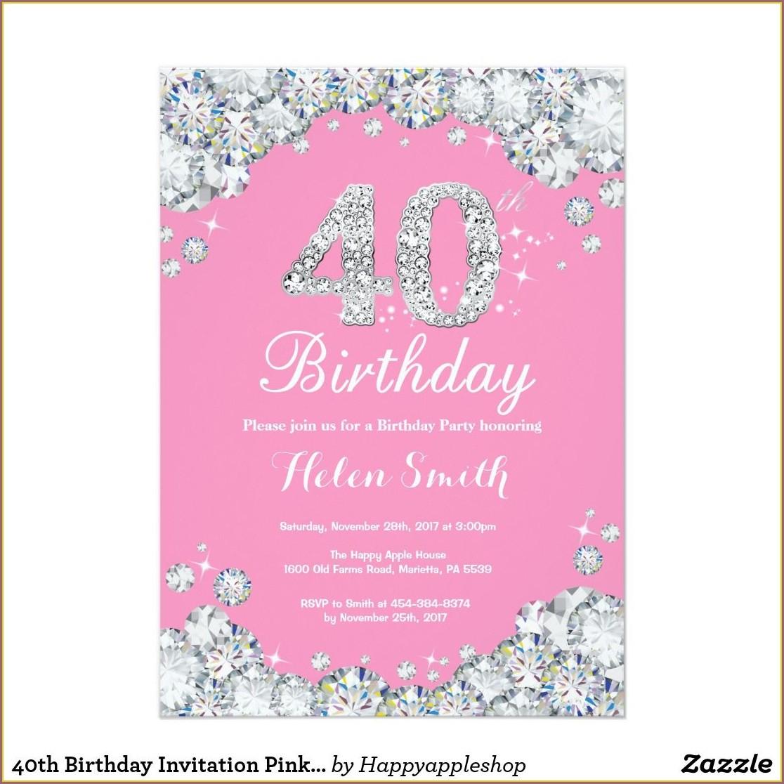 Pink 40th Birthday Invitations