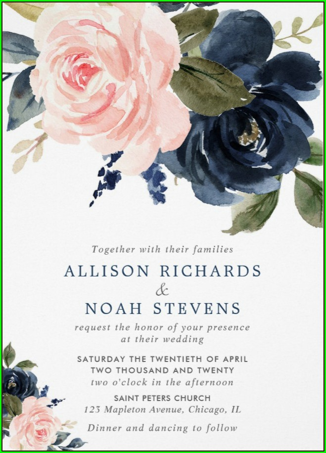 Pink And Blue Wedding Invitation Templates