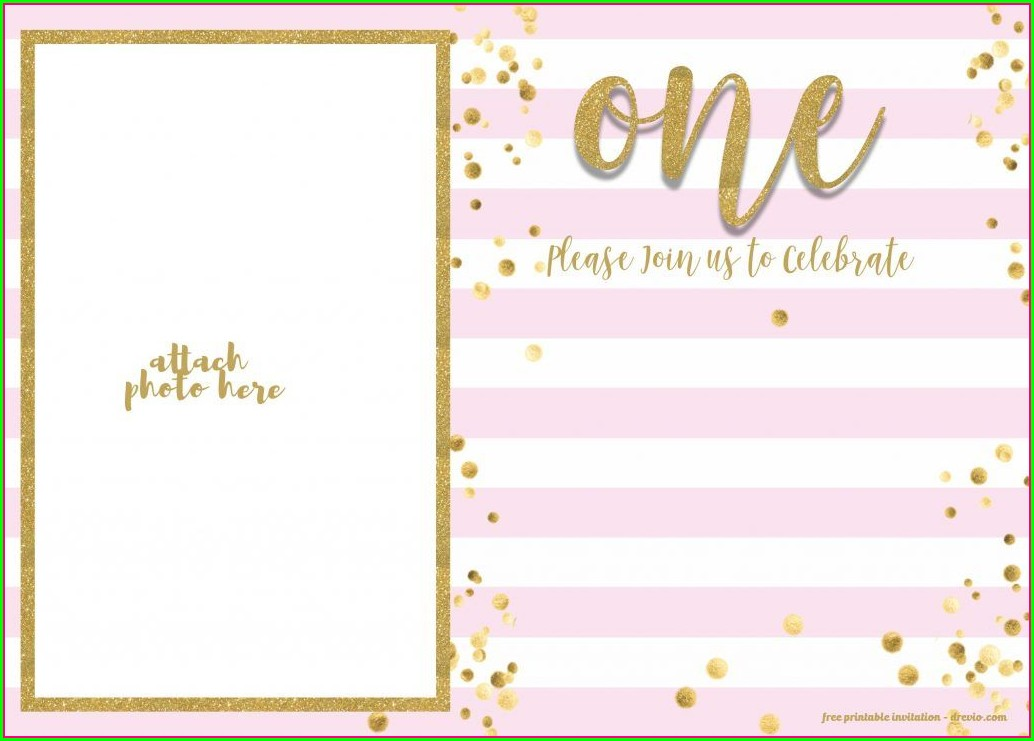 Pink And Gold Invitation Template Free