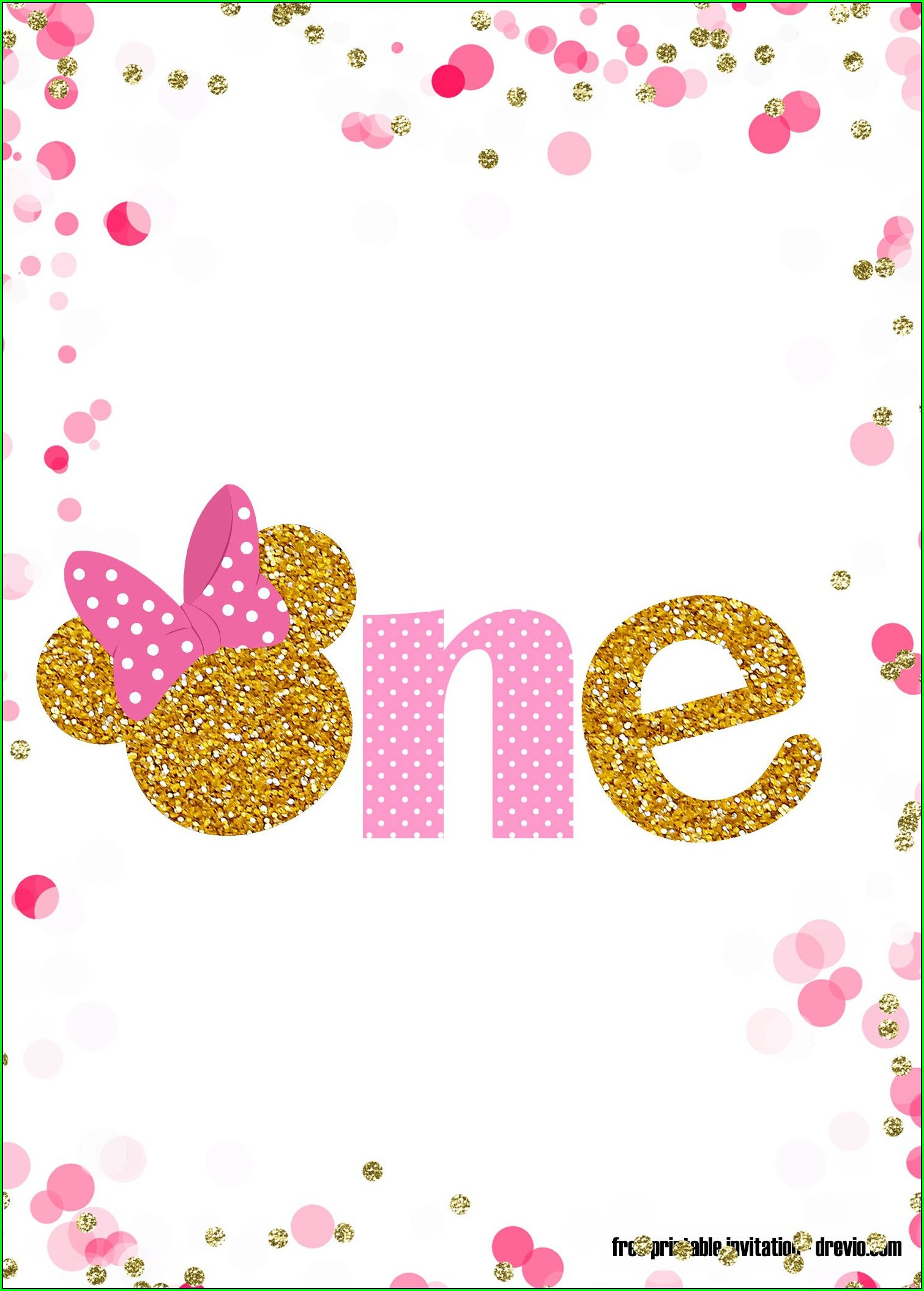 Pink And Gold Minnie Mouse Invitation Template Free Download