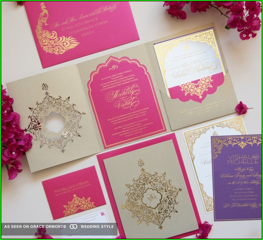 Pink And Gold Wedding Invitation Cards