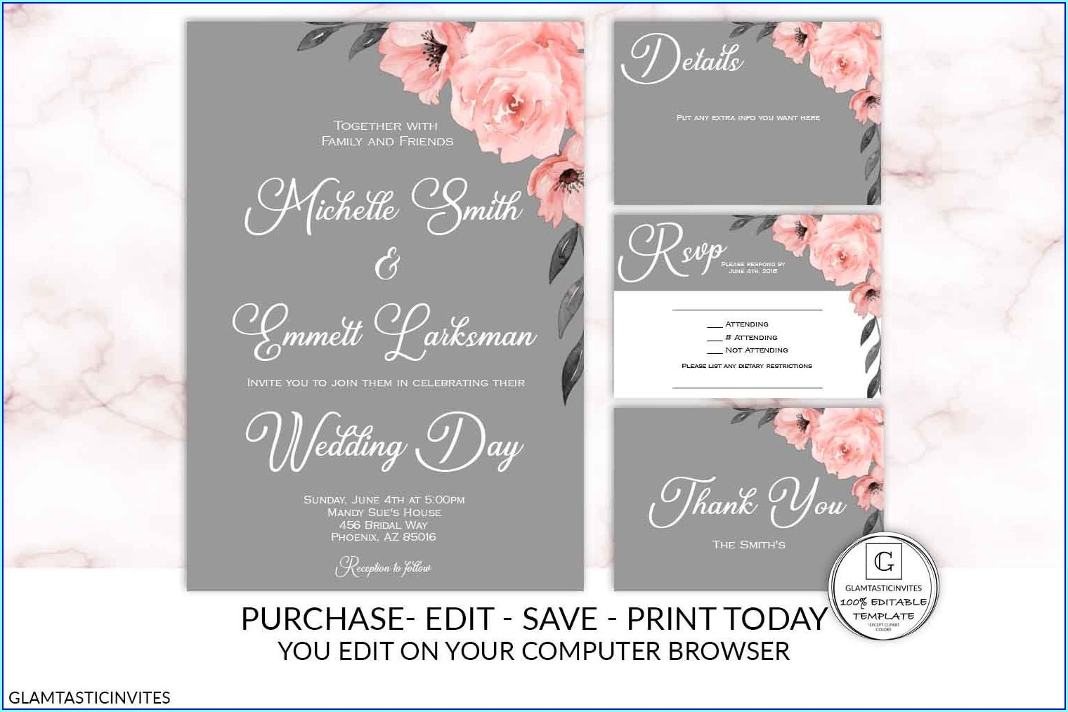 Pink And Gray Wedding Invitation Templates