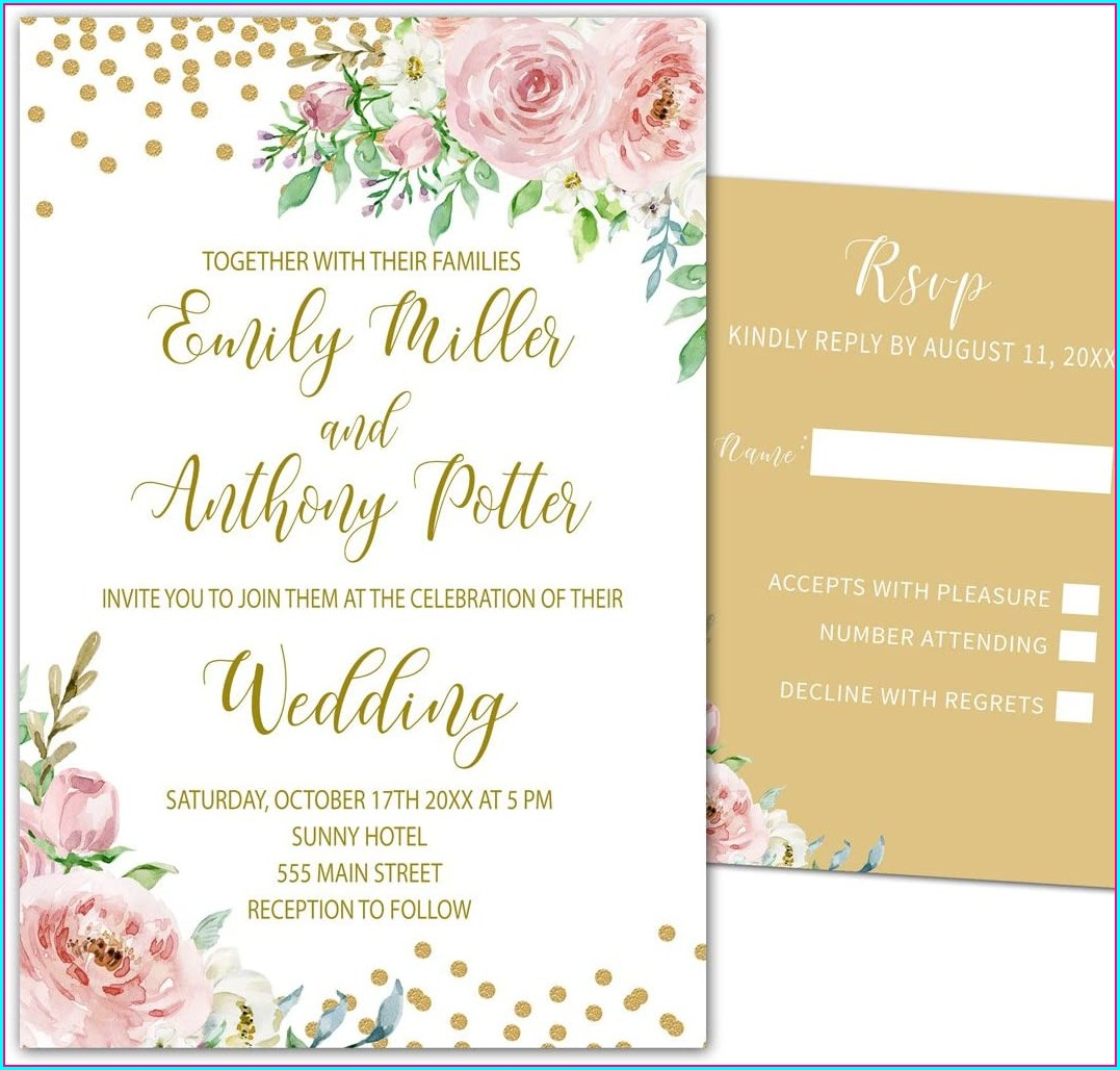 Pink Floral Wedding Invitations