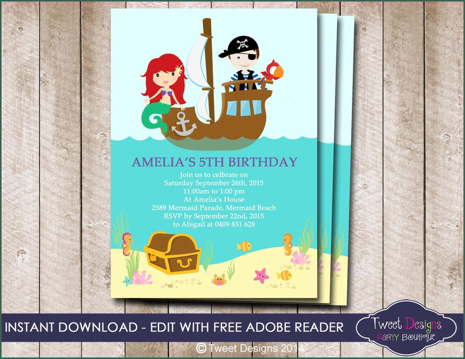 Pirate And Mermaid Free Printable Invitations