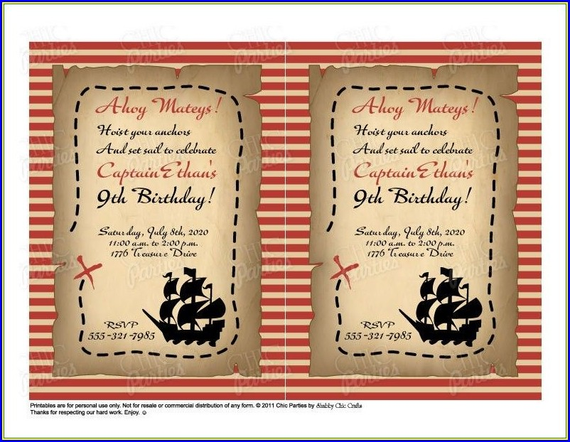 Pirate Birthday Invitations Free Printable