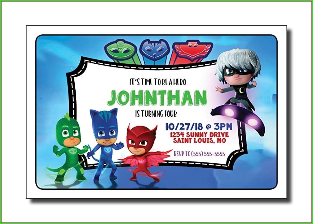 Pj Mask Editable Invitation Free