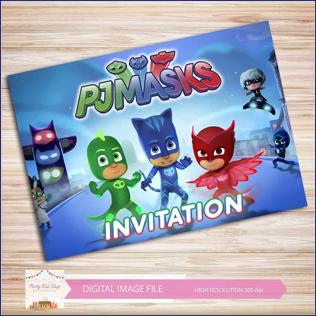 Pj Masks Invitations Templates Free