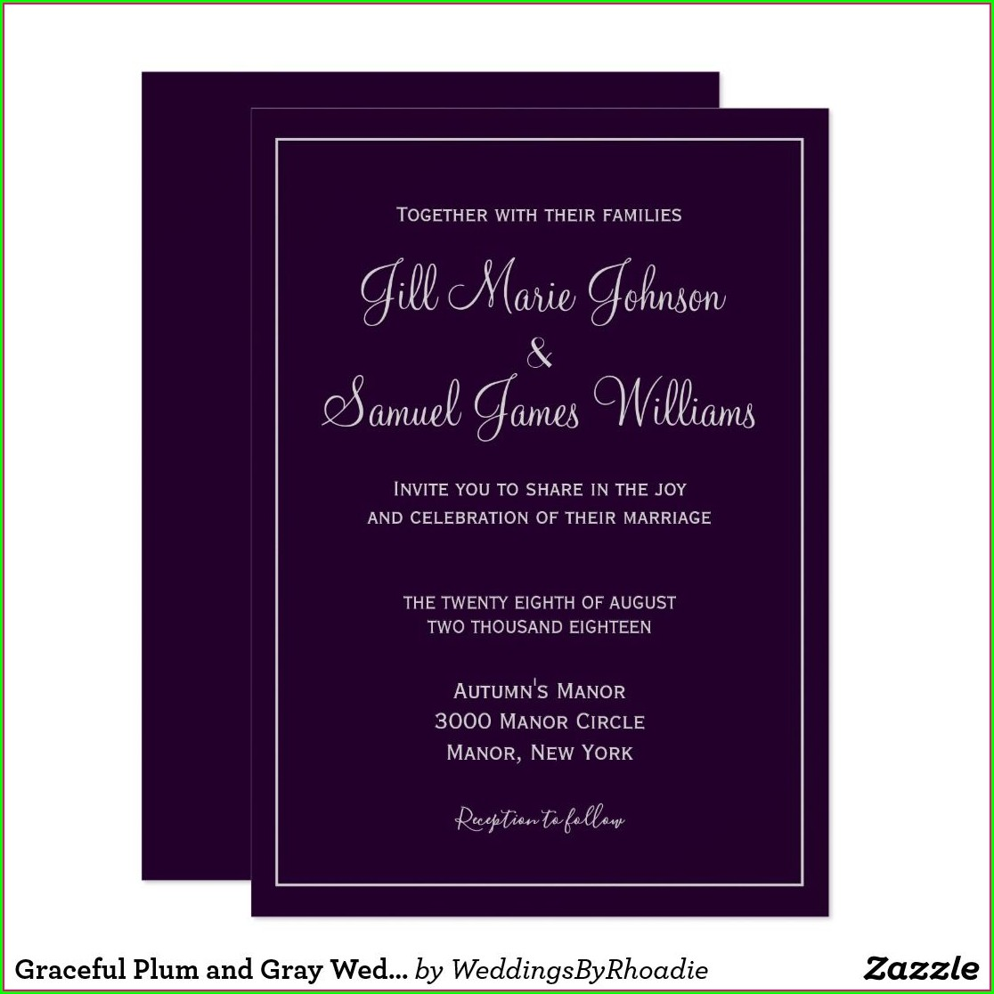 Plum And Grey Wedding Invitations
