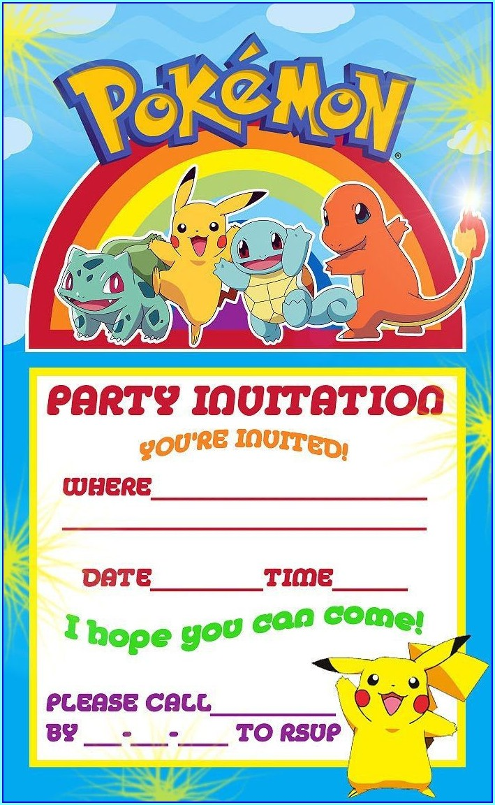 Pokemon Birthday Invitations Template