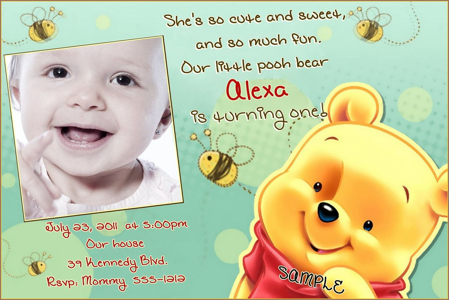 Pooh Bear 1st Birthday Invitations