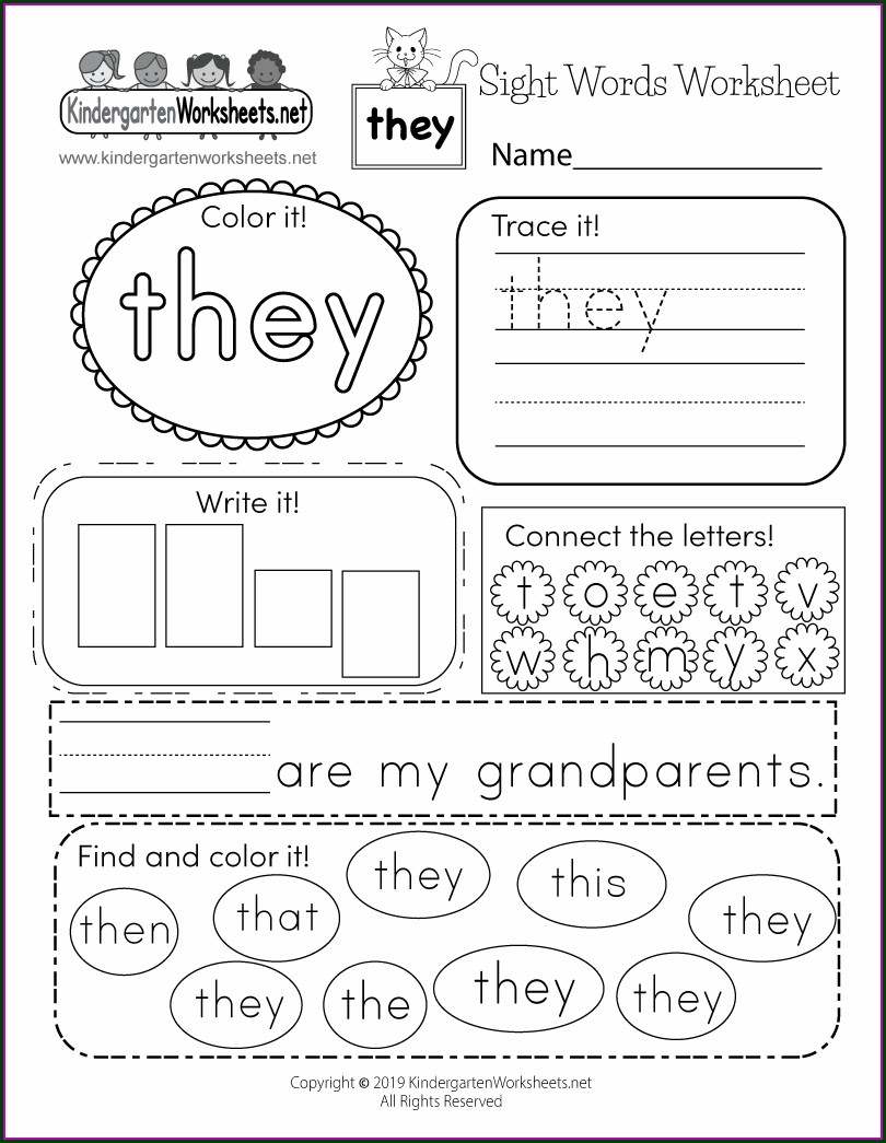Preschool Kindergarten Sight Words Worksheets Pdf