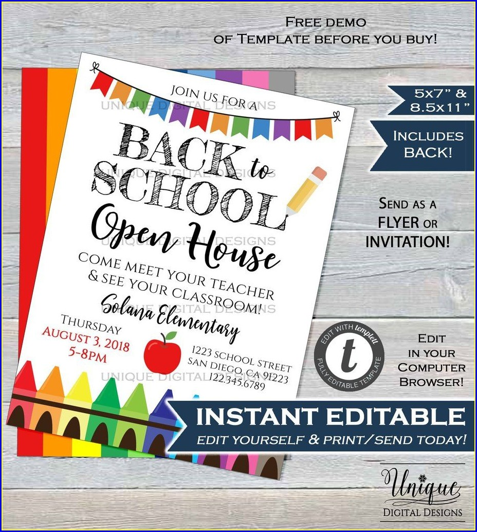 Preschool Open House Invitation Template