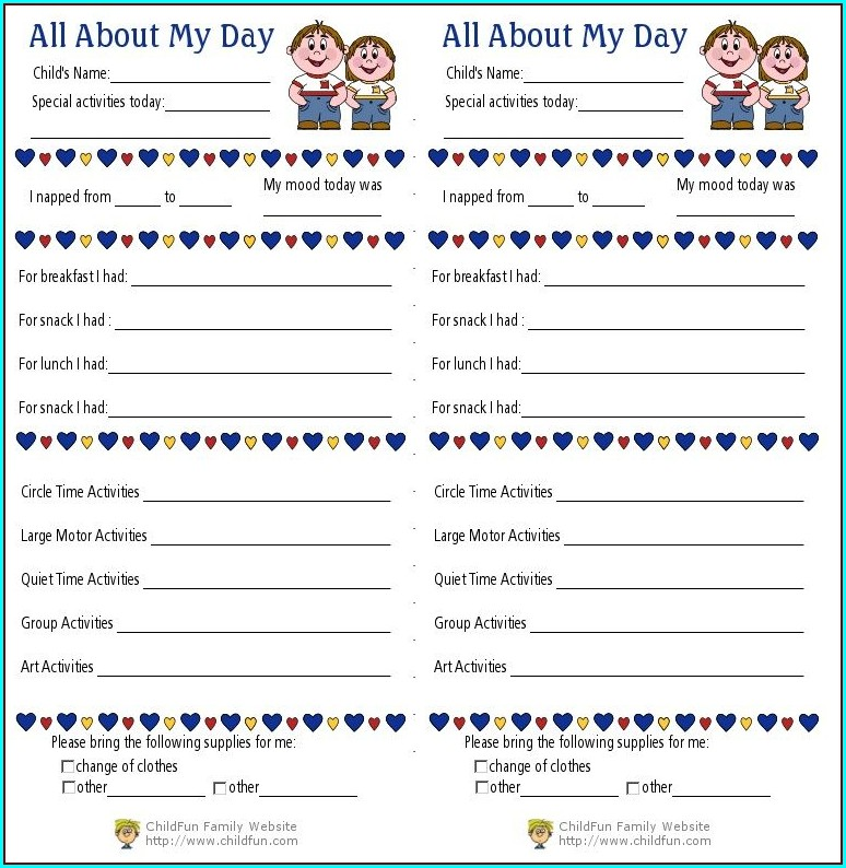 Preschool Printable Daily Reports