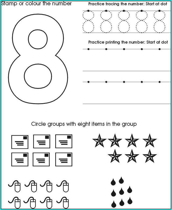Preschool Worksheet For Number 8