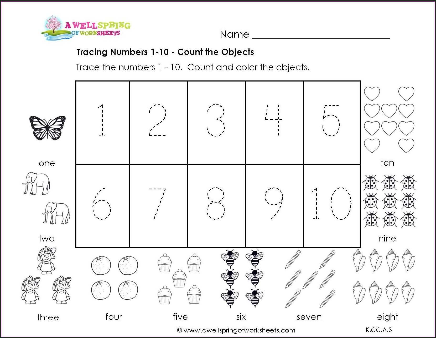 Preschool Worksheet On Numbers 1 To 10