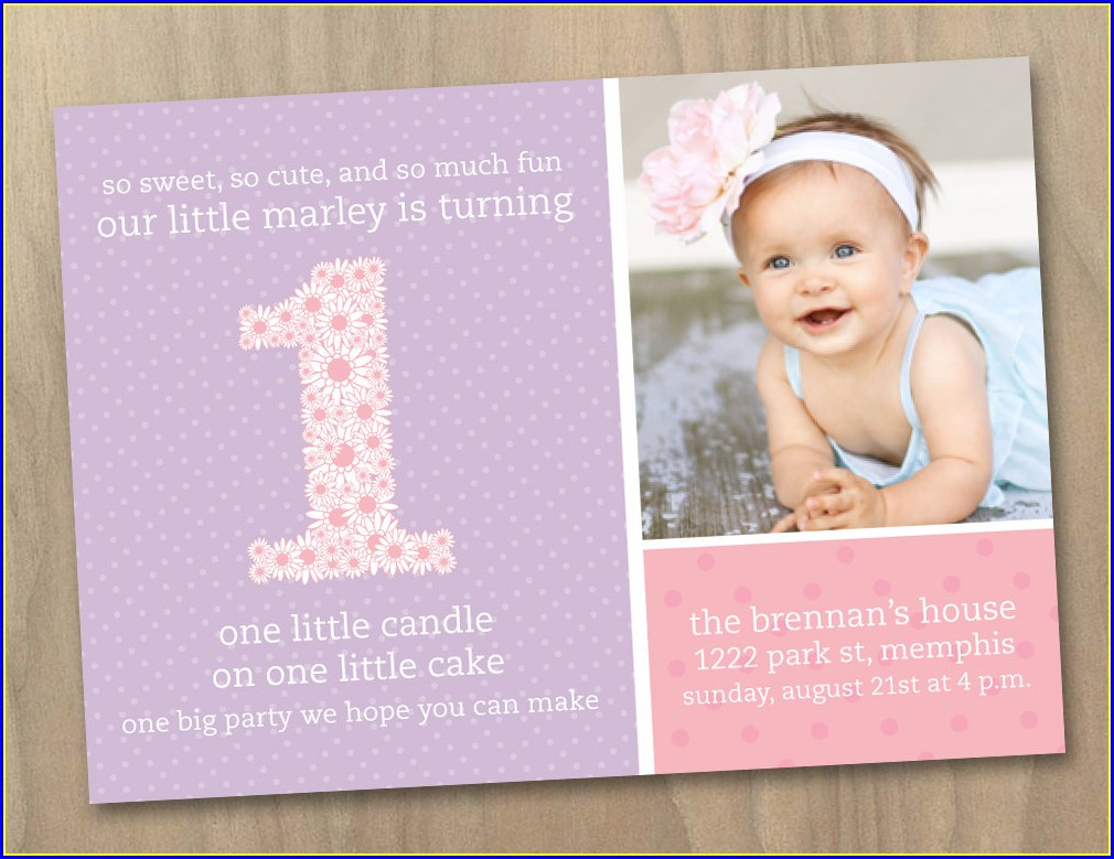 Princess 1st Birthday Invitation Card For Baby Girl