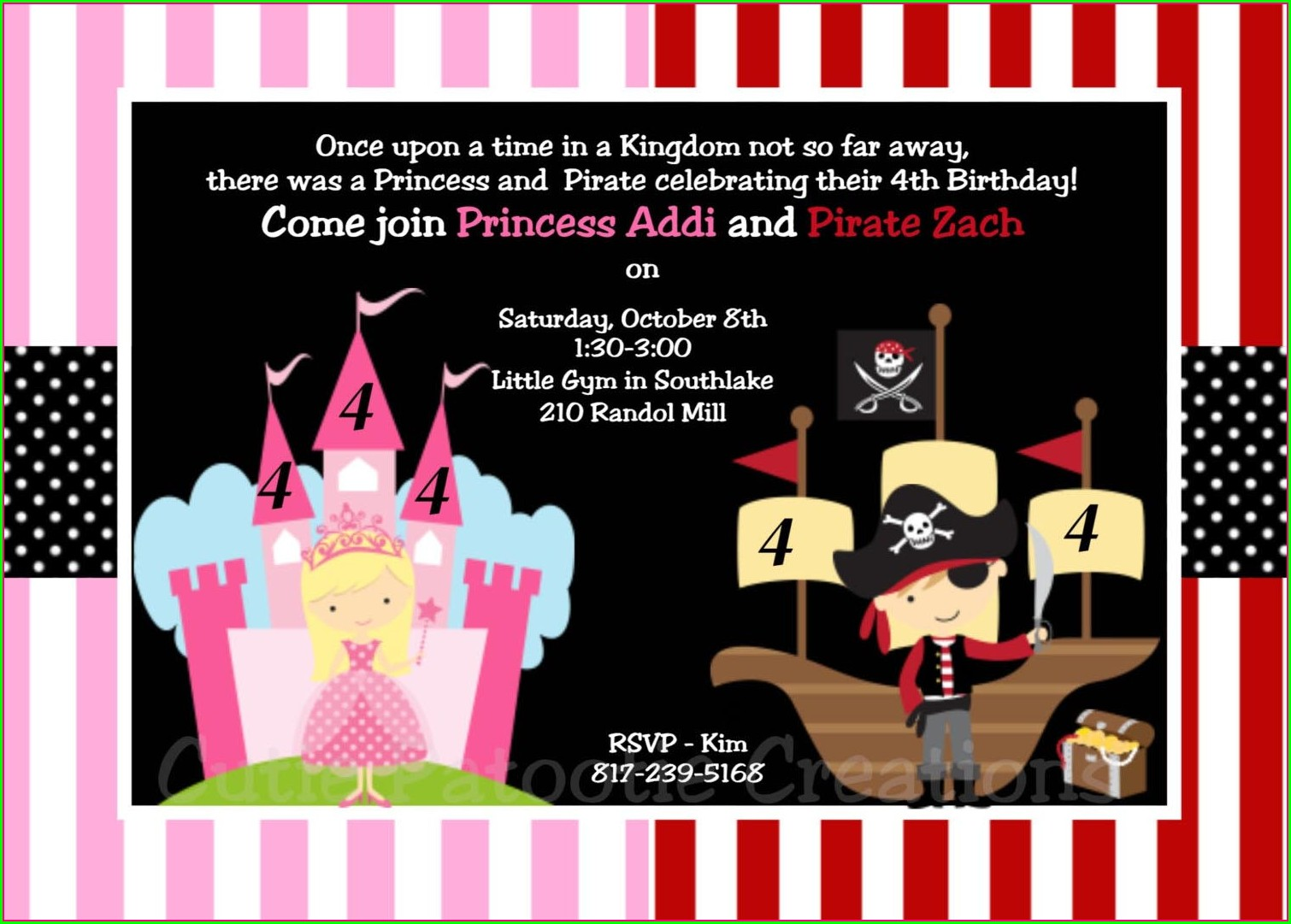 Princess And Pirate Invitation Template
